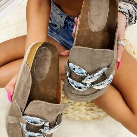 Leather slippers SAMANTHA - BROWN