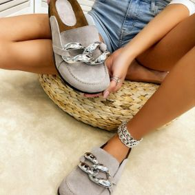 Leather slippers SAMANTHA - BEIGE