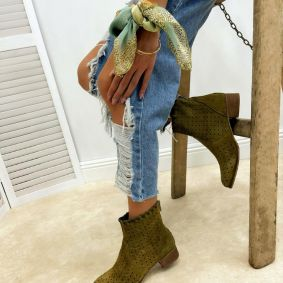 Leather summer boots AVA - DARK GREEN