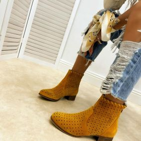 Leather summer boots AVA - OCHRE