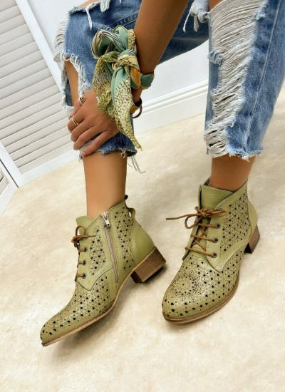 Leather summer boots MEGAN - GREEN