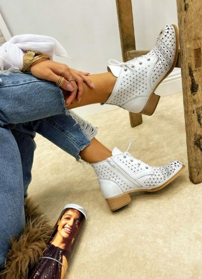 Leather summer boots MEGAN - WHITE