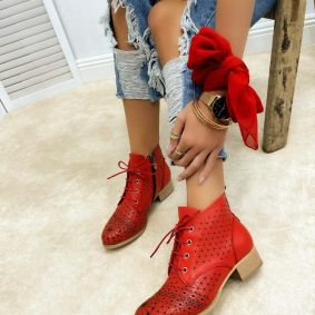 Leather summer boots MEGAN - RED