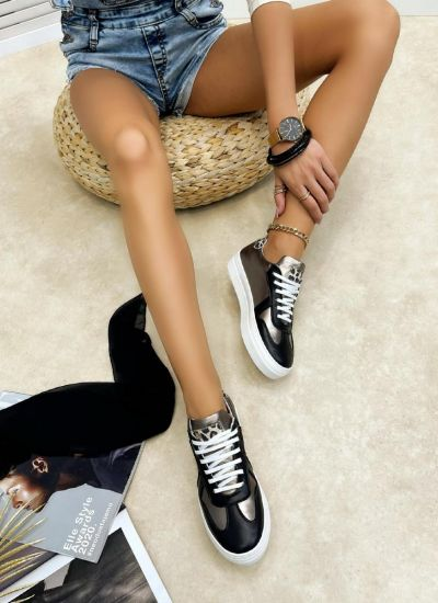Leather sneakers MICHELLE - BLACK