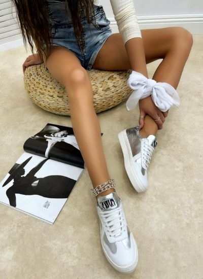 Leather sneakers MICHELLE - WHITE