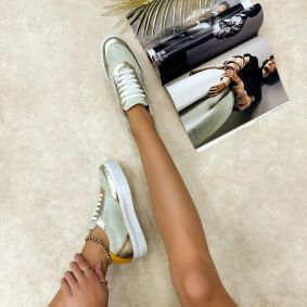 Leather sneakers MIRANDA - GOLD
