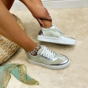 Leather sneakers MIRANDA - SILVER