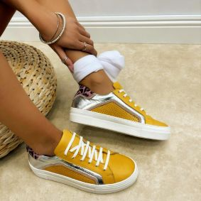 Leather sneakers MONICA - YELLOW