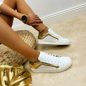 Leather sneakers MONICA - WHITE