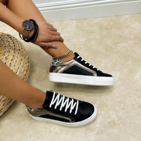 Leather sneakers MONICA - BLACK