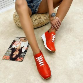 Leather sneakers NADIA - ORANGE