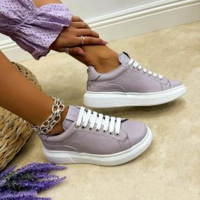 Leather sneakers BARBARA - VIOLET