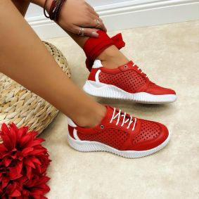 Leather sneakers MYA - RED