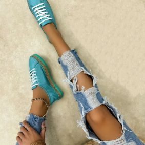Leather sneakers NOELLE - TURQUOISE