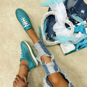Leather sneakers NATASHA - TURQUOISE
