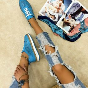 Leather sneakers NATASHA - BLUE
