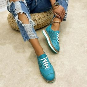 Leather sneakers NATHALIE - TURQUOISE