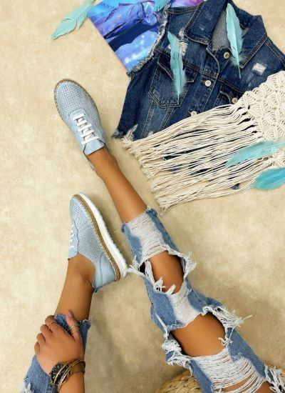 Leather sneakers NICOLE - BLUE