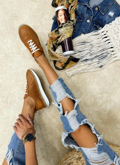 Leather sneakers NICOLE - CAMEL