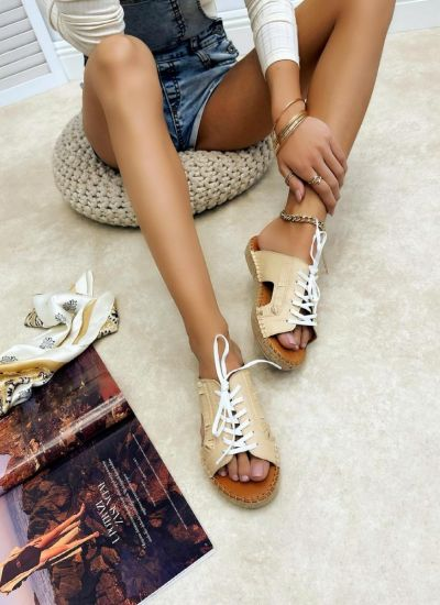Leather slippers REEVI - BEIGE