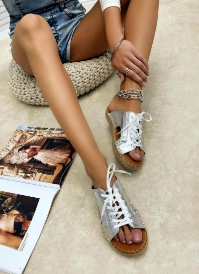 Leather slippers REEVI - SILVER