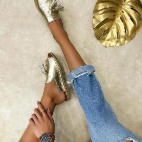 Leather slippers ADITI - GOLD