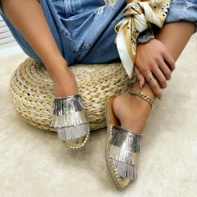 Leather slippers DUAA - GOLD