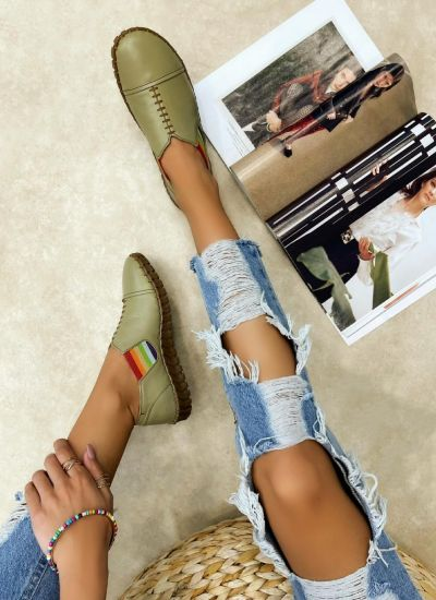 Flat leather shoes INIKA - GREEN