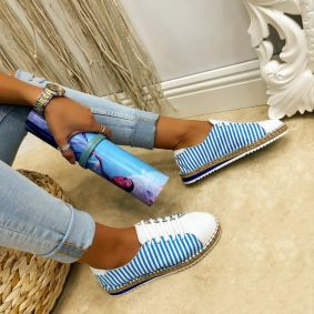 Leather espadrilles ALEXYS - BLUE