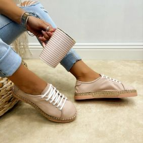 Leather espadrilles EMIE - ROSE
