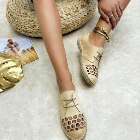 Leather espadrilles MASIE - CAMEL