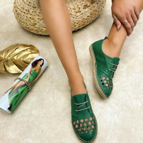 Leather espadrilles MASIE - GREEN