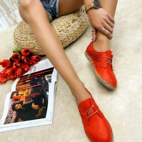 Leather espadrilles SALLY - ORANGE