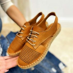 Leather espadrilles GOOL - CAMEL