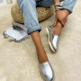 Leather espadrilles MEHAR - SILVER