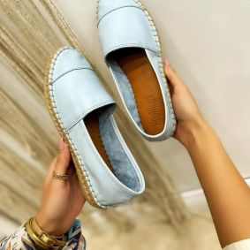 Leather espadrilles YVONNE - BLUE