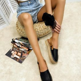 Leather espadrilles ARLIE - BLACK