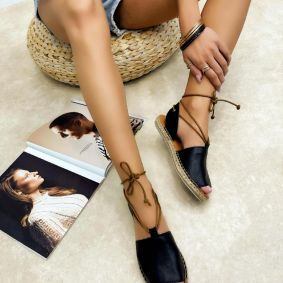 Leather espadrilles MITHRA - BLACK