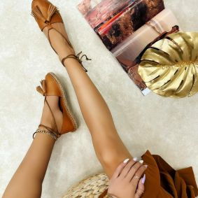 Leather espadrilles MITHRA - CAMEL