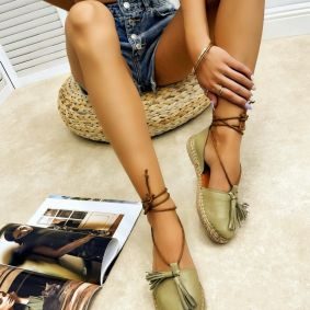 Leather espadrilles MITHRA - GREEN