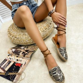 Leather espadrilles LEENA - CAMEL