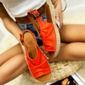 Leather espadrilles DERBY - ORANGE