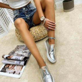 Leather moccasins OJAL - SILVER
