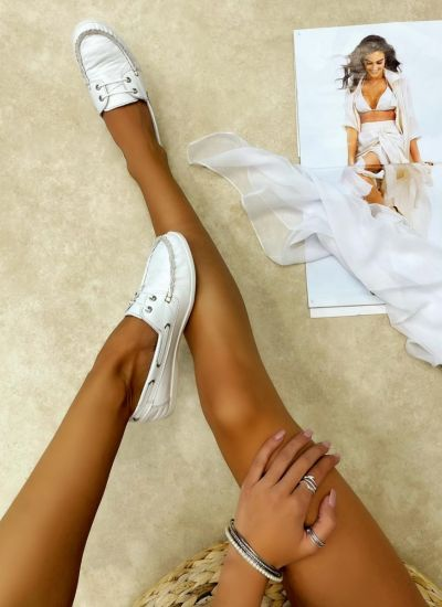 Leather moccasins CIANCY - WHITE