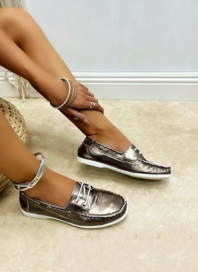 Leather moccasins CIANCY - BRONZE