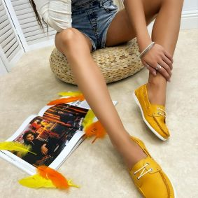 Leather moccasins CIANCY - OCHRE
