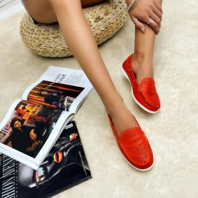 Leather moccasins JAYLA - ORANGE