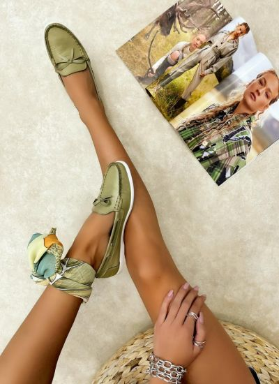Leather moccasins GINNY - GREEN
