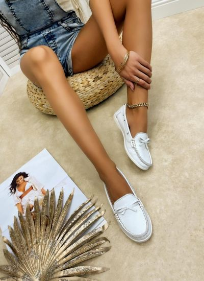 Leather moccasins GINNY - WHITE