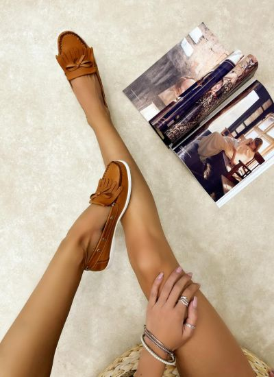 Leather moccasins NASEEN - CAMEL